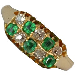 Victorian 18 Carat Gold Emerald and Old Cut Diamond Two-Row Chequerboard Ring