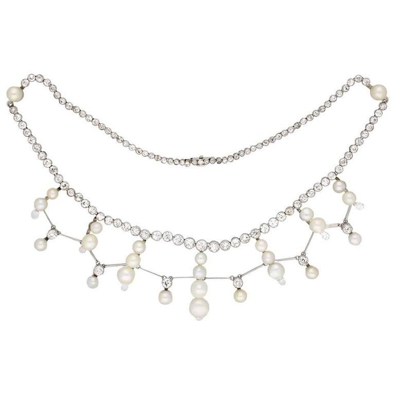 Natural Pearl and Diamond Tiara/Necklace/Bracelet, circa 1920