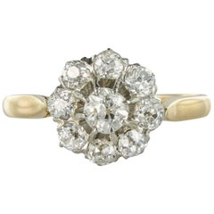 French 1900s Diamond 18 Karat Yellow Gold Cluster Ring