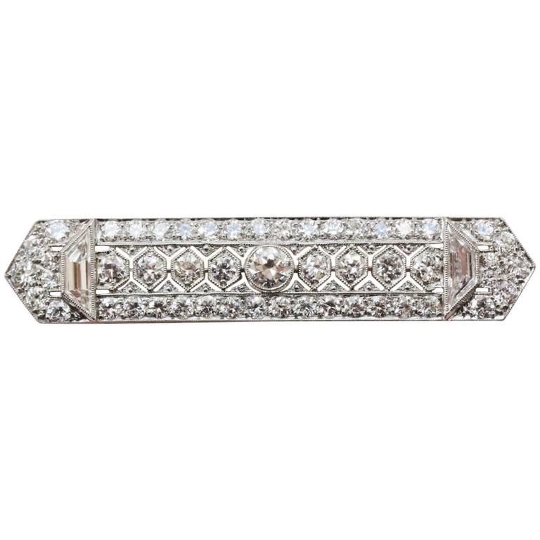 Tiffany & Co. Platinum and Diamond Bar Brooch