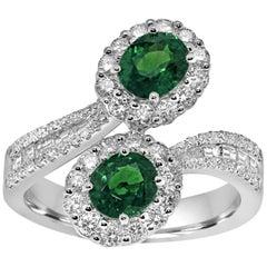 Platinum Toi-et-Moi Ring Set with Diamonds and Emeralds