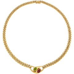 Bulgari 18 Carat Yellow Gold, Pink Tourmaline and Peridot Necklace