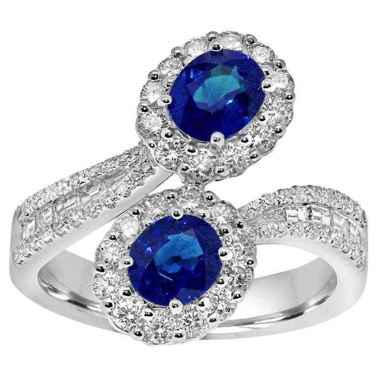 Platinum Toi-et-Moi Ring Set with Diamonds and Blue Sapphires gemstones