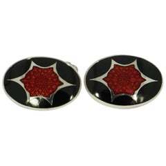 Black and Red Enameled Sterling Silver Formal Dress-Set by Brixton & Gill