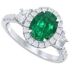 Nasbro Emerald and Diamond 18 Karat White Gold Ring