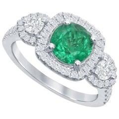 Nasbro Emerald and Diamond 14 Karat White Gold Ring