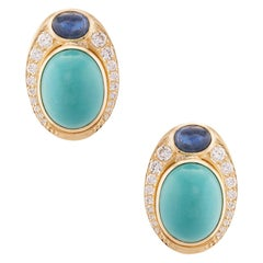 Turquoise Sapphire Diamond Cocktail Earrings