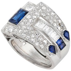 Art Deco Pave Set Diamond Rectangular and Kite Shaped Sapphire Platinum Ring