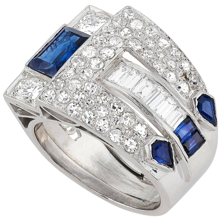 Art Deco Pave Set Diamond, Rectangular and Kite Shaped Sapphire Ring