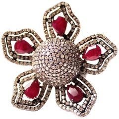 Clarissa Bronfman Ruby/Diamond/Silver Flower Ring