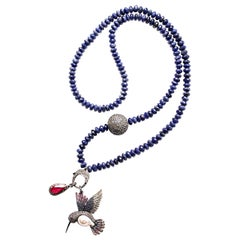 Clarissa Bronfman Lapis Beads, Diamond, Pearl, Silver Hummingbird Necklace
