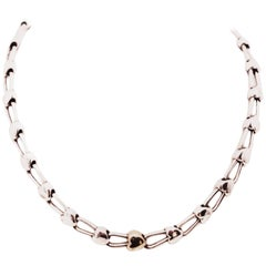 Tiffany & Co. Sterling Silver and 18 Karat Gold Inline Hearts Necklace