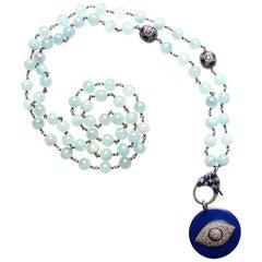 Clarissa Bronfman Aquamarine, Sapphire, Diamond, Enamel Beaded Necklace