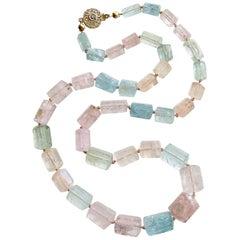 Beryl Aquamarine Morganite Necklace with 14 Karat Gold Diamond Filigree Clasp