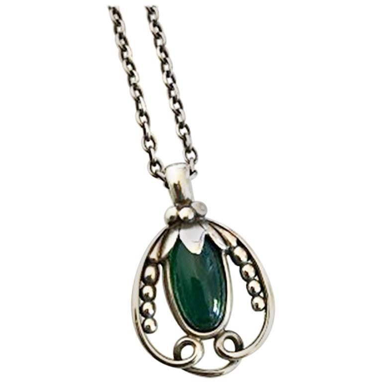 Georg Jensen Sterling Silver 1990 Annual Pendant, Green Agate and Chain