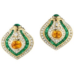 Clip on 18 Karat Yellow Gold Diamond and Emerald Earrings