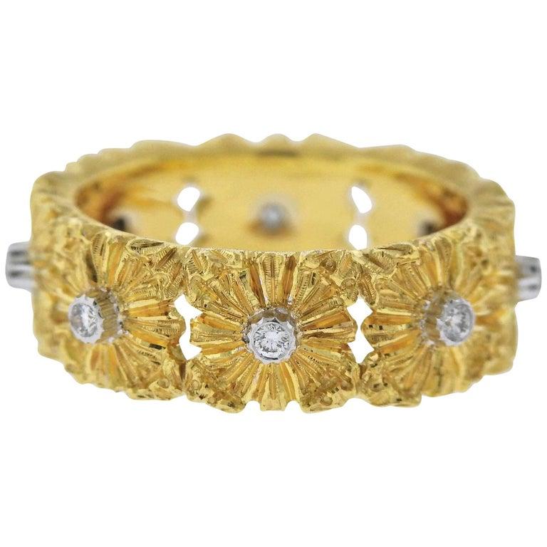 Buccellati Diamond Gold Flower Band Ring
