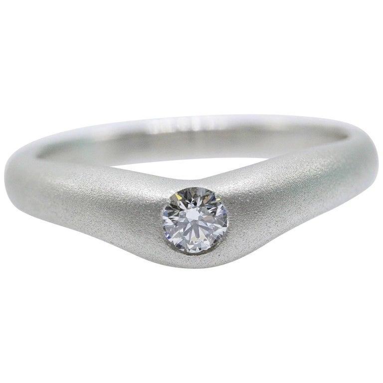 Tiffany & Co. Elsa Peretti Curve Band Diamond Platinum Ring