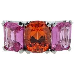 Exciting 18 Karat Natural Pink Sapphire and Mandarin Garnet Ring