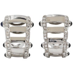 Patek Philippe Twenty-4 Sapphire, Diamond and White Gold Hoop Ear Clips