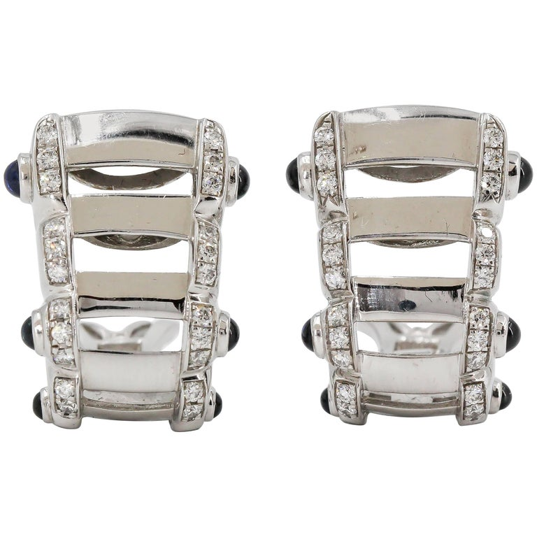 Patek Philippe Twenty-4 Sapphire, Diamond and White Gold Hoop Ear Clips For Sale