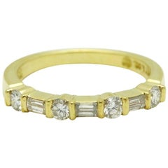 Tiffany & Co. Round & Baguette Diamond Wedding Band Ring in 18K Yellow Gold
