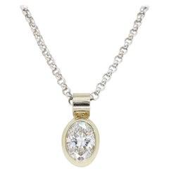 Oval Diamond Pendant Necklace