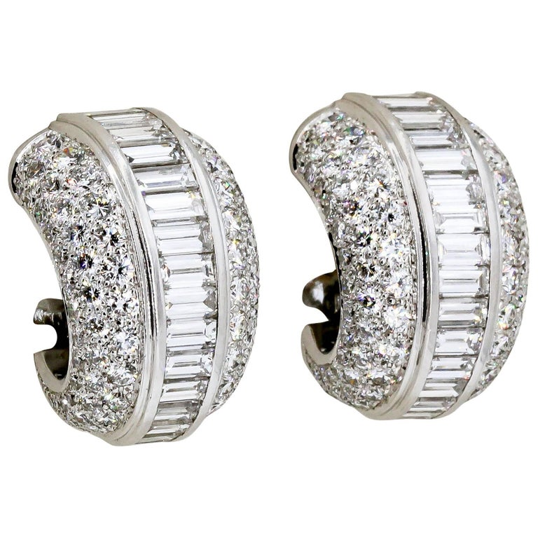 Cartier Diamond and White Gold Hoop Earrings For Sale
