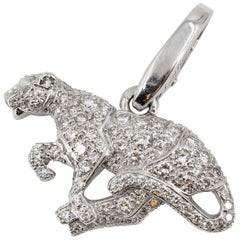 Cartier Panther Diamond and 18 Karat White Gold Charm