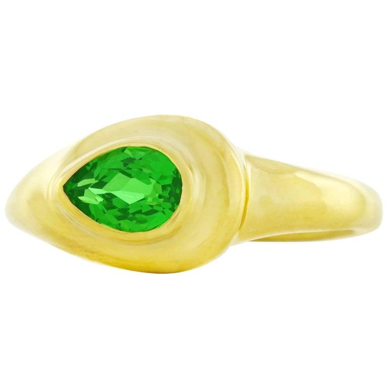 Tiffany & Co. Tsavorite Set Gold Ring