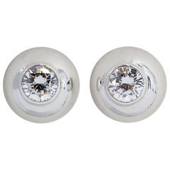Cartier Diamond and White Gold Stud Earrings
