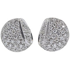 Hermes Diamond and White Gold Stud Earrings
