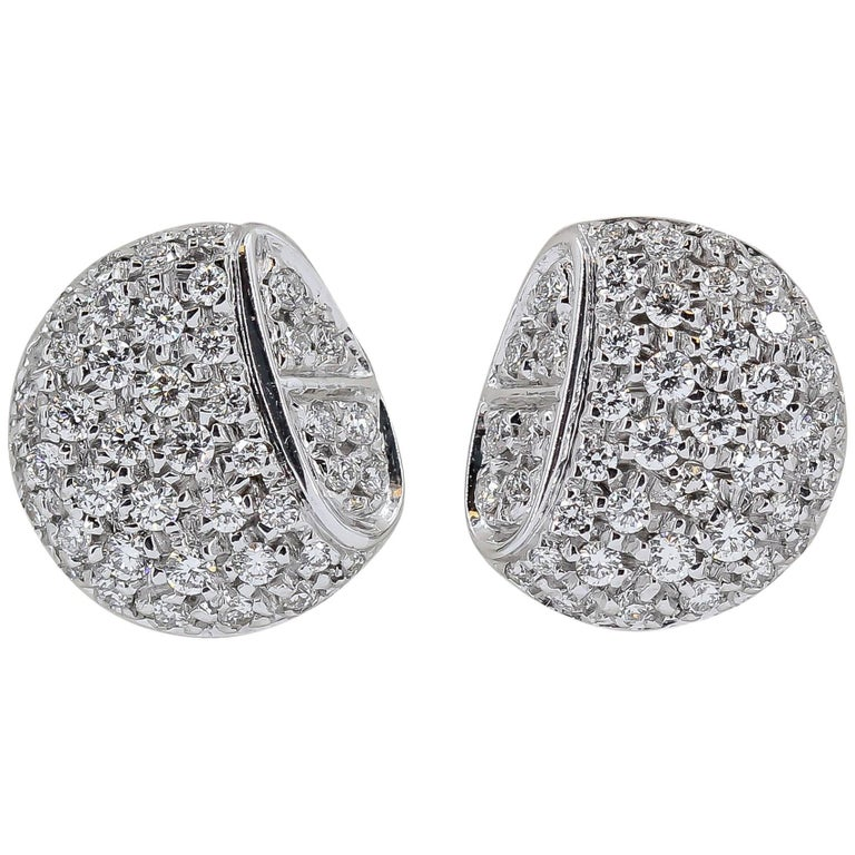 Hermes Diamond and White Gold Stud Earrings For Sale