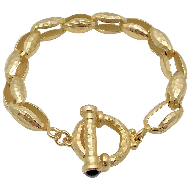 Hammered Finish Oval Rolo Link Bracelet For Sale