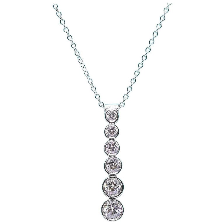 Tiffany & Co. Diamond Jazz Graduated Drop Pendant Necklace in Platinum 0.50 TCW