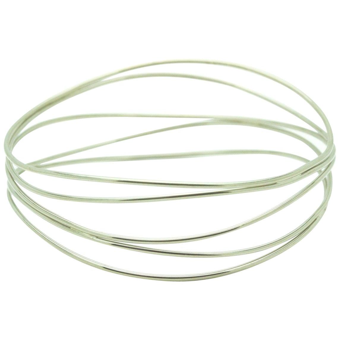 Tiffany & Co. Elsa Peretti 18 Karat White Gold Five-Row Wave Bracelet