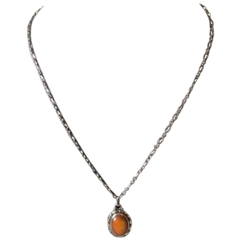 Georg Jensen Sterling Silver Pendant with Amber