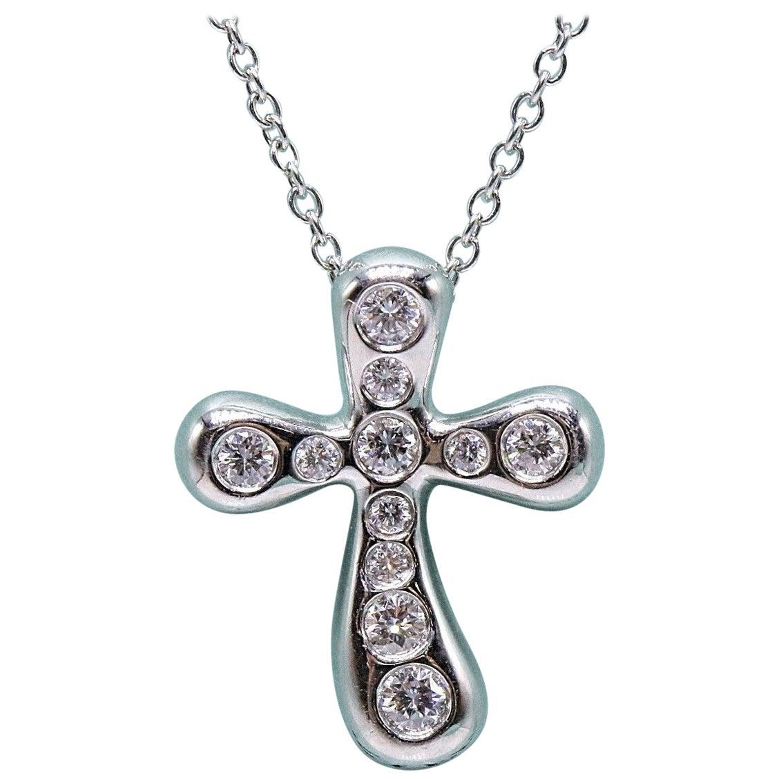Tiffany & Co. Elsa Peretti Diamond Cross Pendant Necklace in Platinum