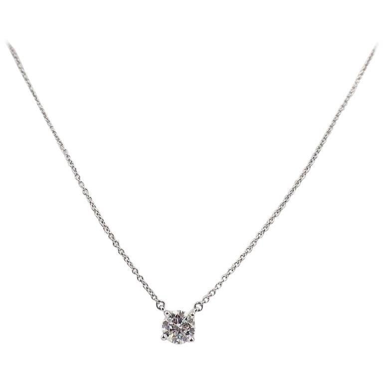 Tiffany & Co. Round Brilliant 0.70 Carat Diamond and Platinum Pendant