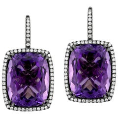Amethyst Diamond and Black Rhodium-Plated Gold Drop Earrings