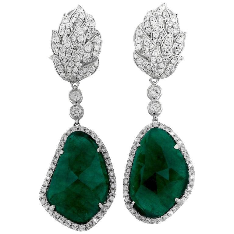 Rose Cut Emerald and Diamond Gold Earrings