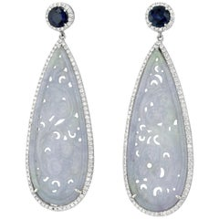 Jadeite Jade Sapphire and White Gold Drop Earrings