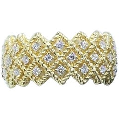 Roberto Coin Barocco Three-Row Ring with Round Diamonds in 18 Karat Yellow Gold