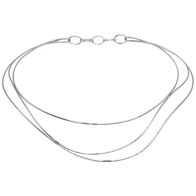 Tiffany & Co. Elsa Peretti Three-Row Wave Necklace in 18 Karat White Gold