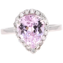 4.37 Carat Kunzite Diamond White Gold Cocktail Ring