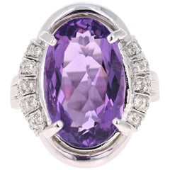 10.59 Carat Amethyst Diamond White Gold Cocktail Ring