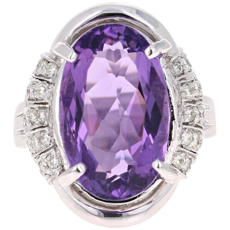10.59 Carat Amethyst Diamond White Gold Cocktail Ring