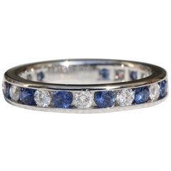 Tiffany & Co. Diamonds & Sapphires Full Circle Wedding Band 3mm Platinum 1.12TCW