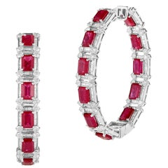 Magnificent 18 Karat White Gold Diamond and Ruby Earring
