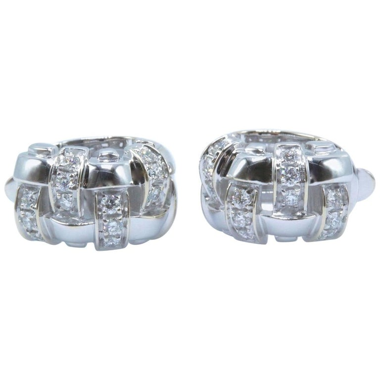 Tiffany & Co. Vannerie Basket Weave Diamond Earrings 18 Karat White Gold